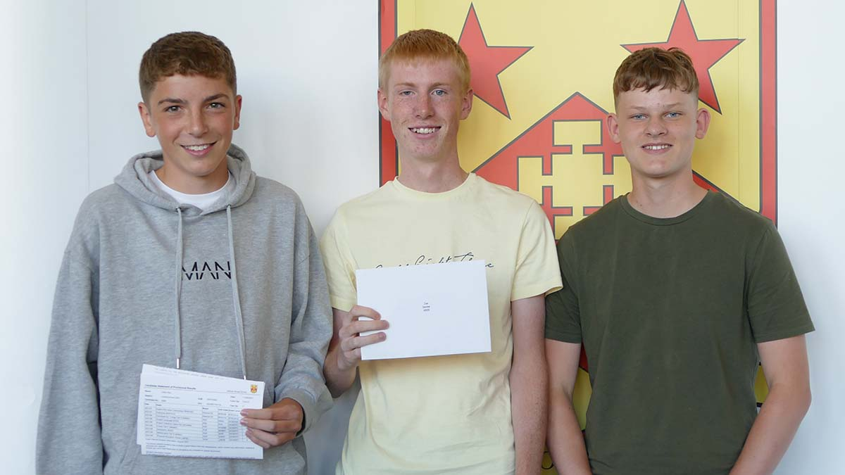 Students collecting their GCSE results at Nether Stowe School