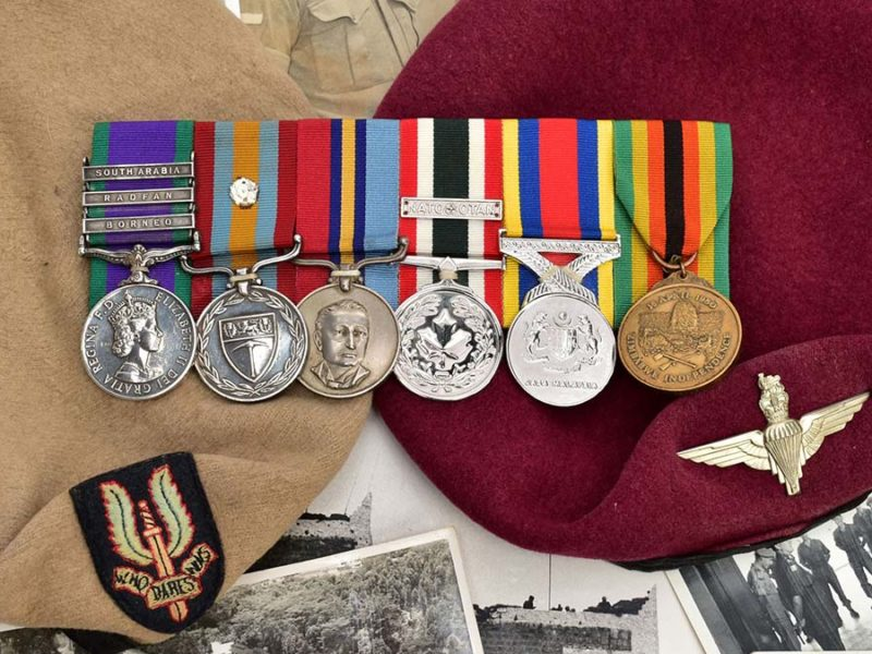 Roger Tattersall's medals and berets