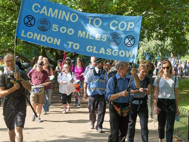 The climate activists during an earlier leg of their walk
