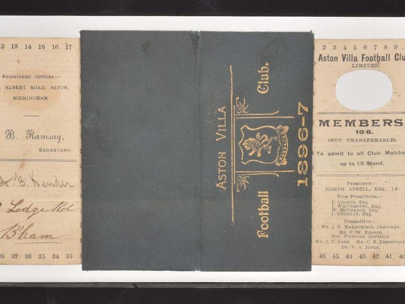 The Aston Villa season ticket from the 1896-97 season