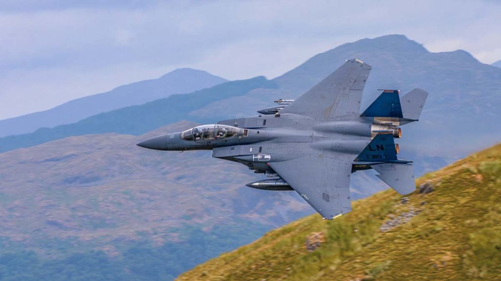 F15 Eagle over the Welsh hills by Joe Anderson