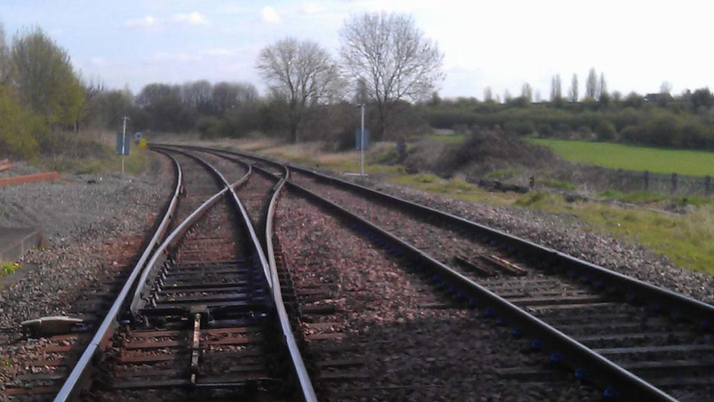The existing tracks out of Lichfield towards Alrewas and Burton