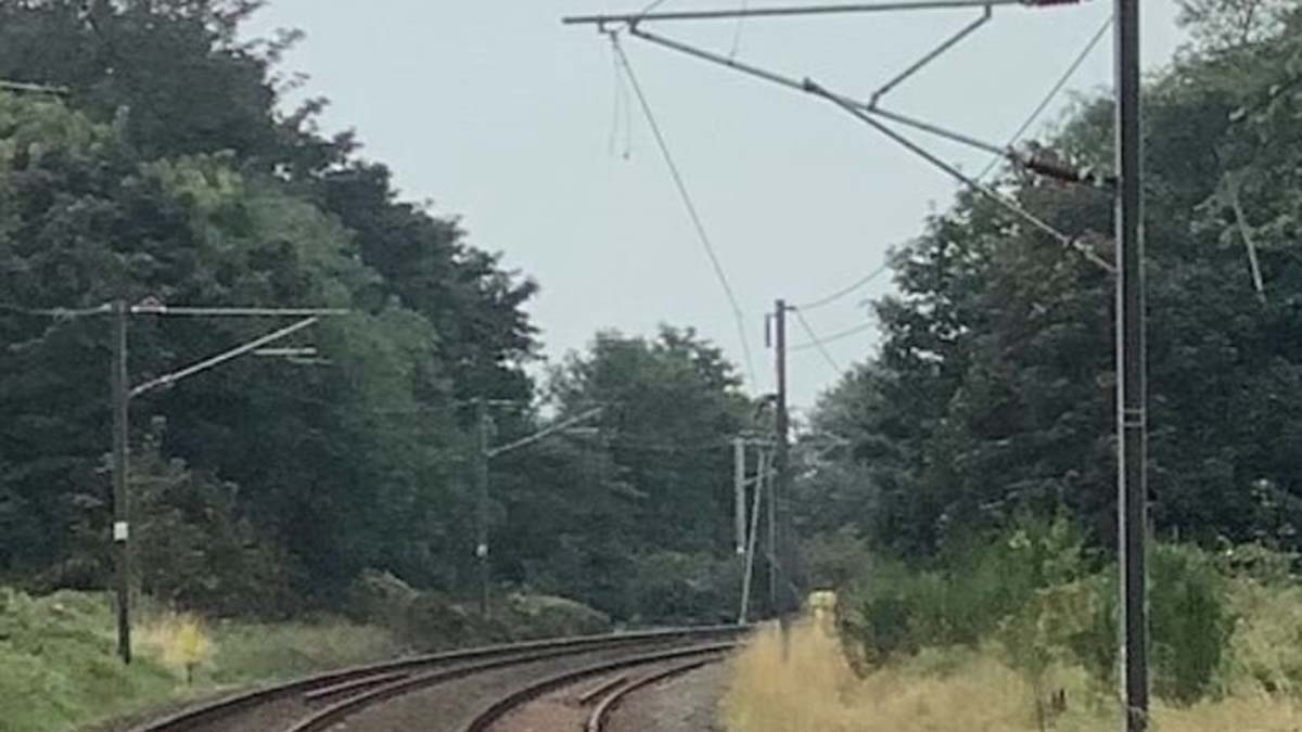 The damaged overhead lines at Gravelly Hill