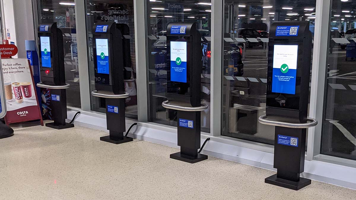 The new parking terminals at Tesco in Lichfield