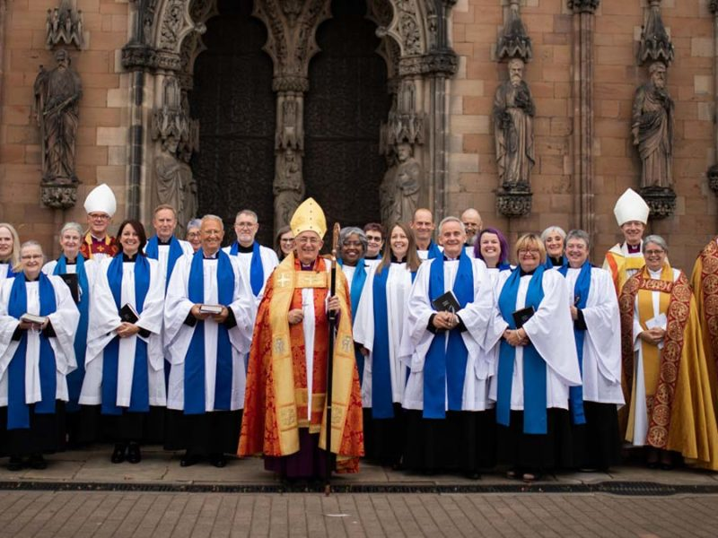 The new lay ministers with senior clergy outside Lichfield Cathedral