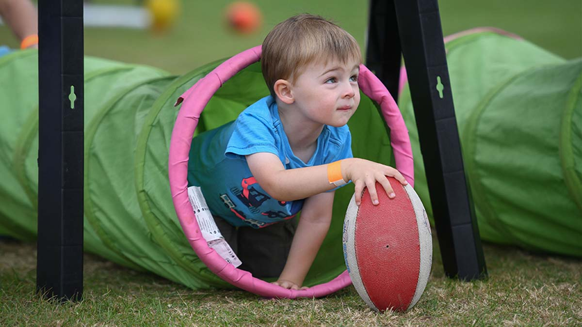 A youngster taking part in a rugby activity at the Lichfield Community Games