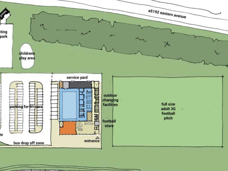 The proposed layout of the new leisure centre at Stychbrook Park