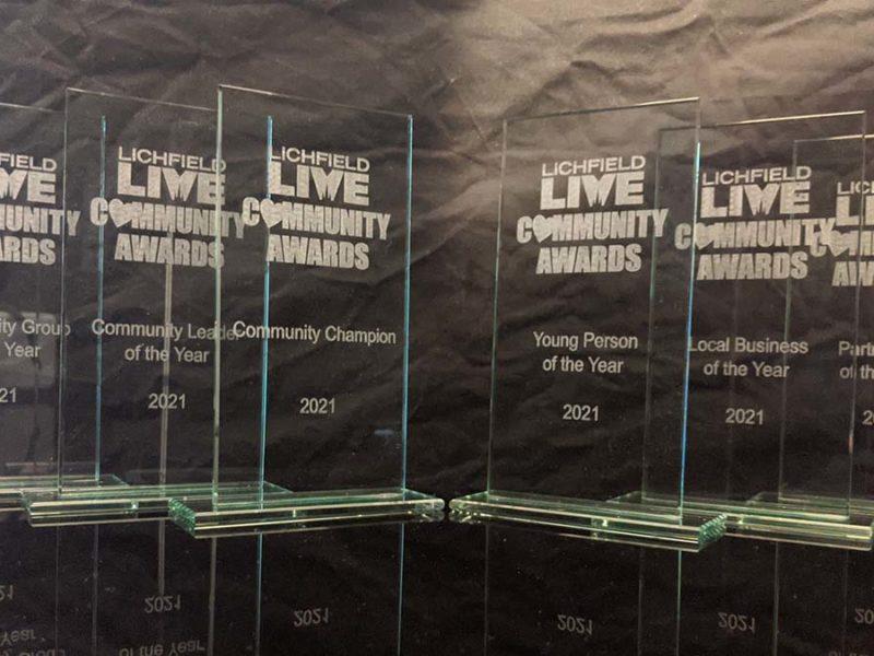 Lichfield Live Community Awards trophies