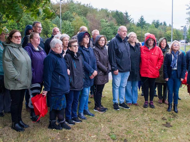 Councillors, residents and the family of Luke Cotton at the public meeting