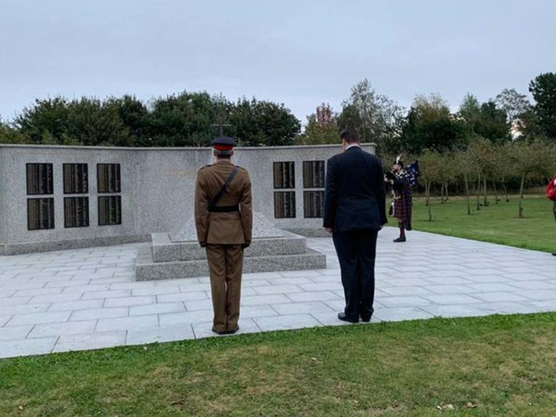 Wreaths being laid at the Bastion Memorial. Picture: National Memorial Arboretum