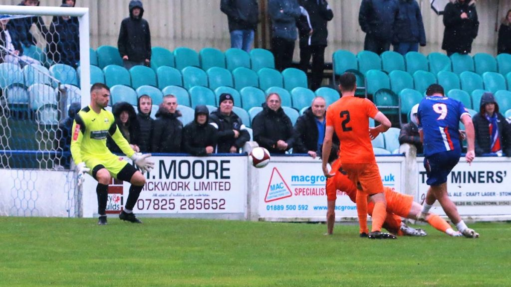 Joey Butlin scores for Chasetown. Picture: Dave Birt