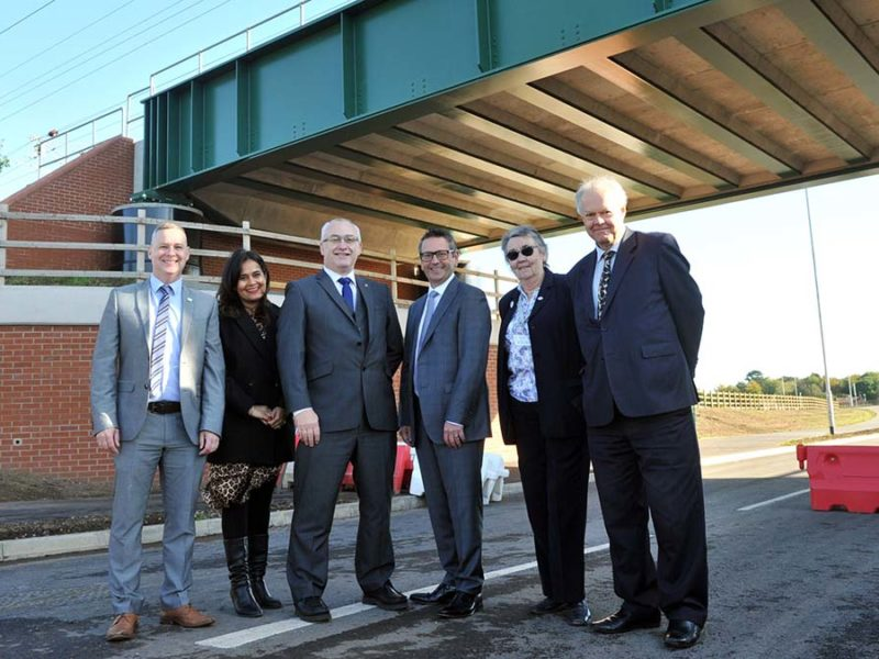Richard Harris (Amey), Satnam Rana-Grindley (Greater Birmingham and Solihull Local Enterprise Partnership), Cllr David Williams, Stephen Cleveley Persimmon Homes, Christine Bull (Lichfield and Hatherton Canals Restoration Trust) and Cllr Colin Greatorex