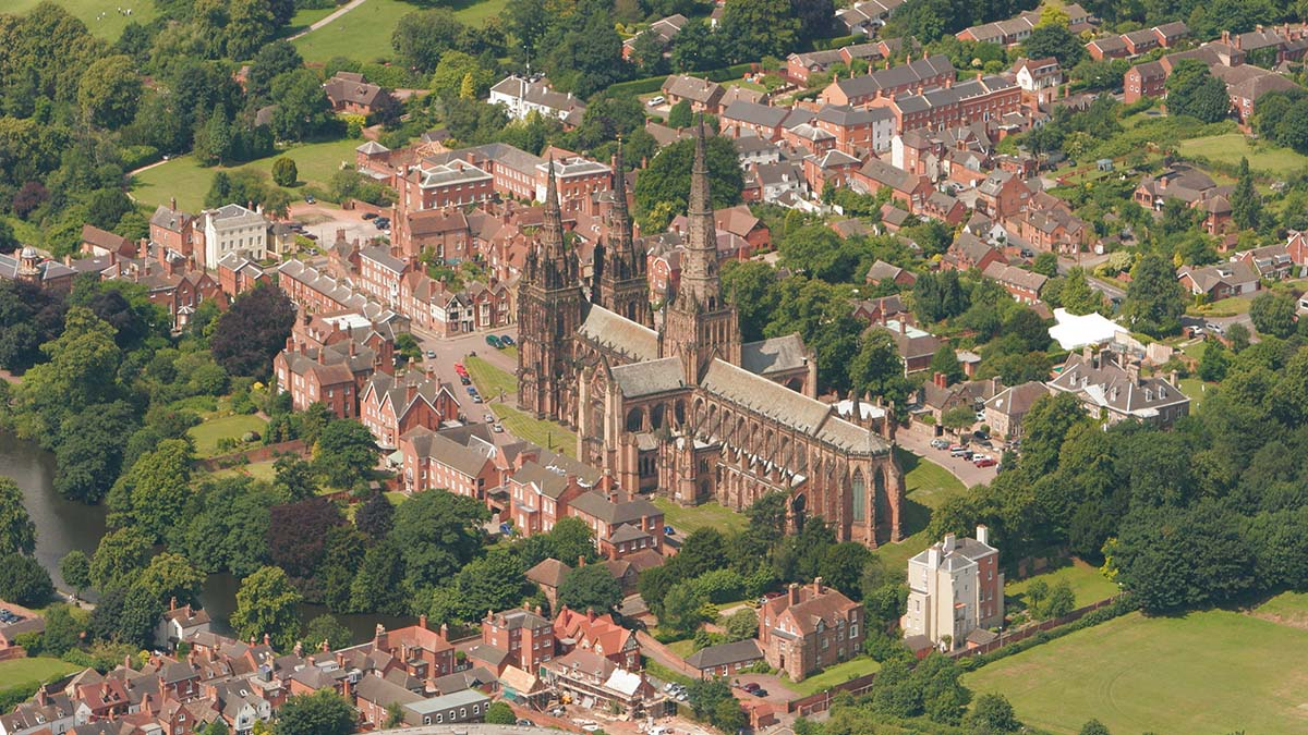 An aerial image of Lichfield Cathedral. Picture: Historic England