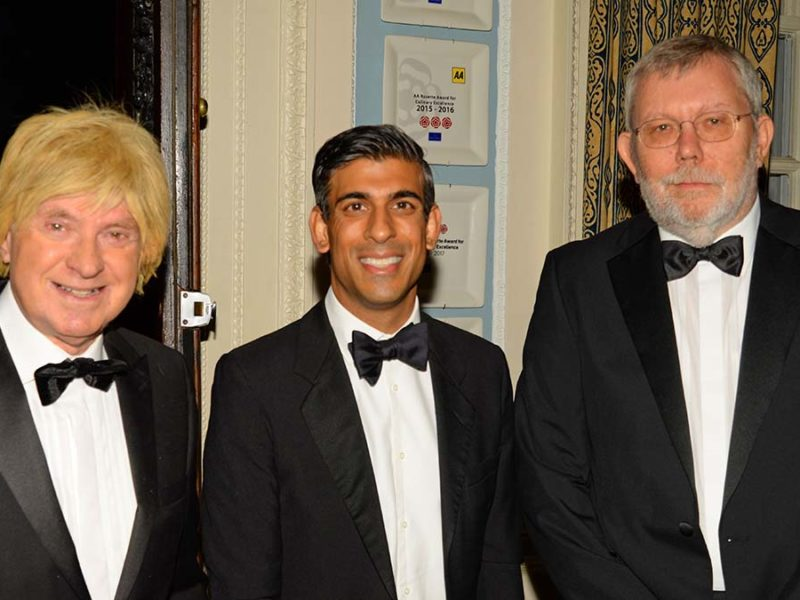 Rishi Sunak (centre) with Michael Fabricant and Lichfield Conservatives chairman Jim McKinven