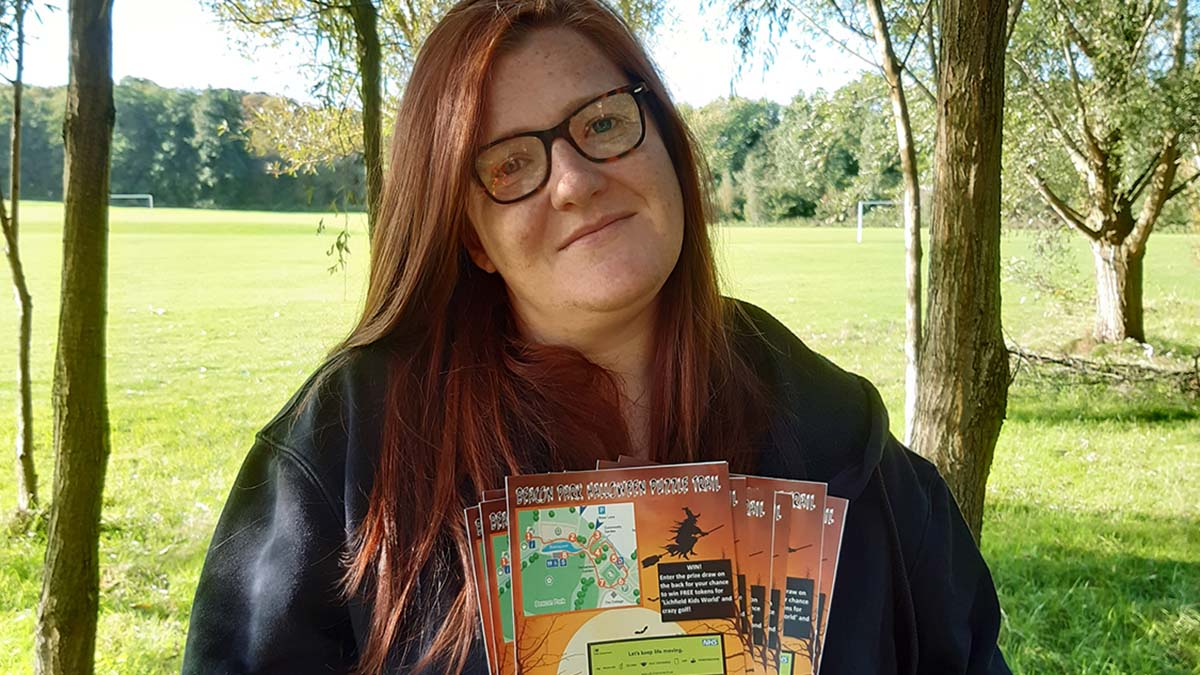 Beacon Park events officer Stacey Coleman with the Halloween trail maps