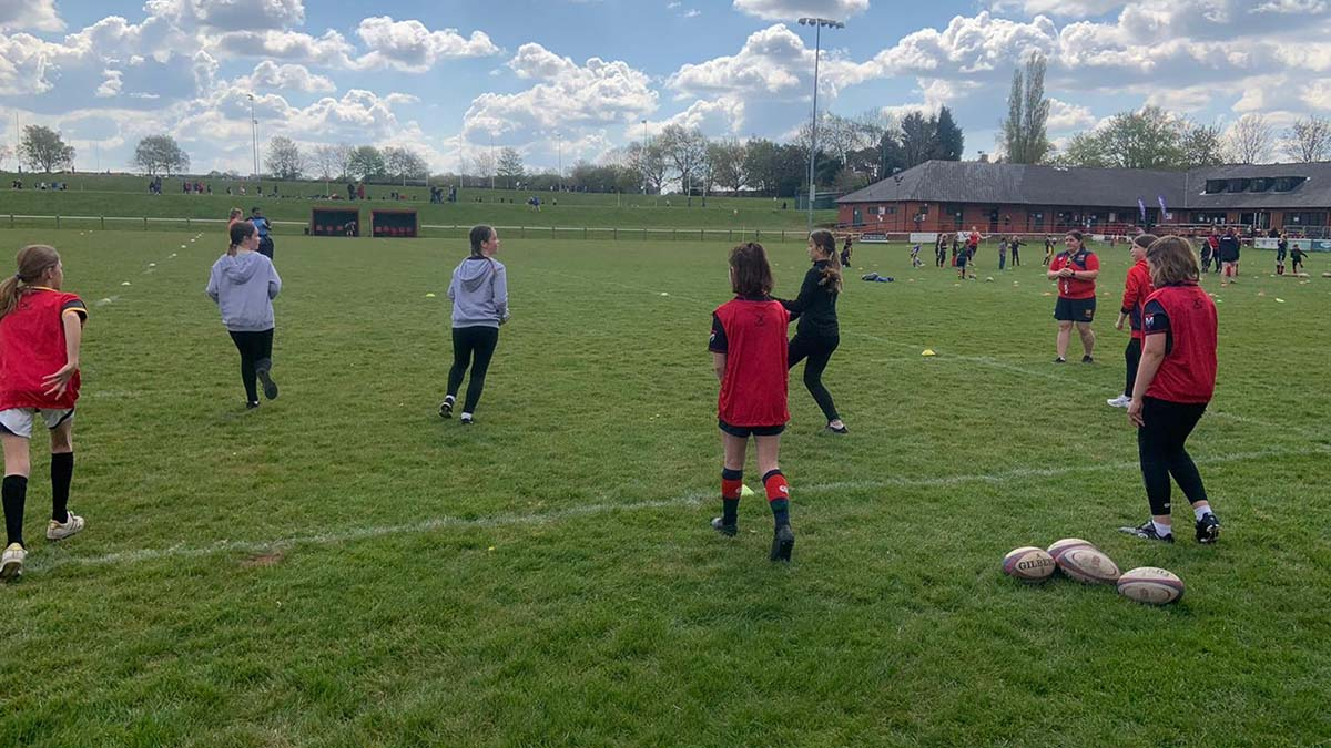 Girls at a rugby training session in Lichfield