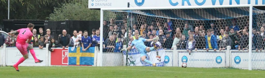 Curtis Pond scores from the penalty spot. Picture: Dave Birt