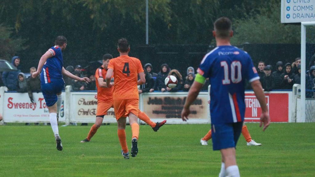 Jack Langston fires home the opening goal against Yaxley. Picture: Dave Birt
