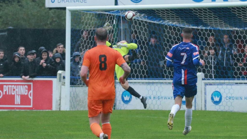 Yaxley's keeper is beaten by Jack Langston's strike. Picture: Dave Birt
