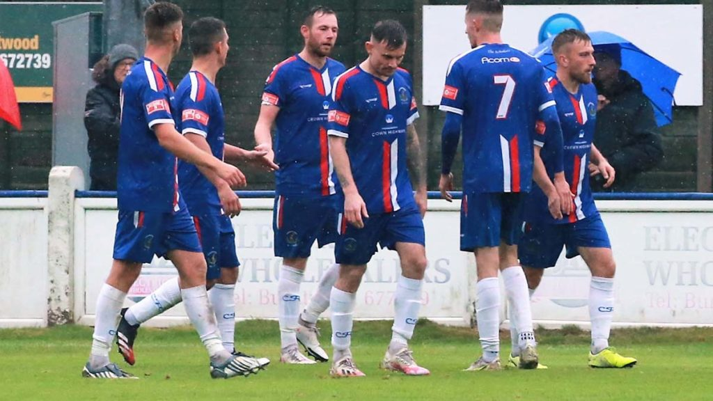 Chasetown players congratulate Jack Langston. Picture: Dave Birt