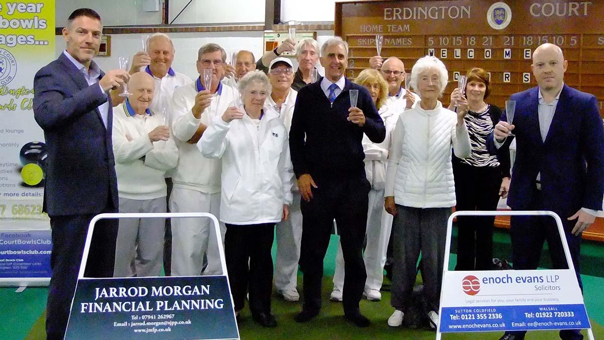 Sponsor Jarrod Morgan with fellow sponsors and players at Erdington Bowls Club